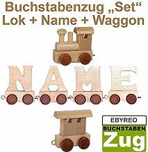 Buchstabenzug Names-Set Lok + Breslau + Endwaggon | EbyReo® Namenszug aus Holz | personalisierbar | Geschenk zur Geburt | Taufgeschenk | Geschenk zu Einschulung (Breslau)