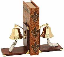 Buchstütze aus Holz, mit Glocke, Messing, 1 Paar