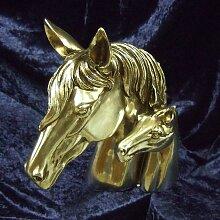 Buchstütze, Pferdeköpfe in Silber, Stute mit