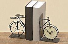 Buchstütze und Uhr Fahrrad 2 teilig L22cm Eisen schwarz Dekoration Geschenkidee