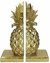 Buchstützen Ananas Gold 2-er Set | Bücherstütze