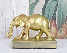 Buchstützen Jungle Elefant Buchständer Elefantenfigur Gold Ananas Palazzo Exklusiv