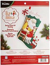 Bucilla Elf auf dem Regal Santa und SCOUT Weihnachtsstrumpf-Applikation aus Filz