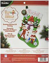 Bucilla Elf auf dem Regal Weihnachtsstrumpf Filz Aufnäher kit-18-inch lang