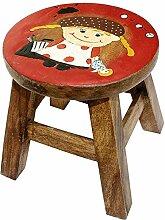 budawi® - Kinderhocker ''Mädchen mit Zöpfen'' aus Holz, Höhe: 25 cm, Ø ca. 25 cm, Kinderstuhl mit Motiv