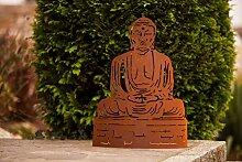 BUDDHA Feng Shui Klein Ferrum 40cm Edelrost Gartendeko Metall Figur Rost Yoga