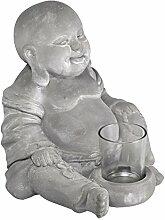 Buddha Figur 20 cm I Steinguss Kerzenhalter I Schöne Statue, Deko Windlicht I Dekoration Wohnung I Kerzenständer, Teelichthalter