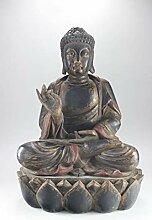 Buddha Figur aus Holz mit Karana Mudra Handhaltung