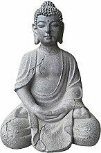 Buddha-Figur Groß 51 x 37 x 34 cm- robust und wetterfest in original Steinoptik Statue Garten-Deko Buddha-Sitzend Fiberstone