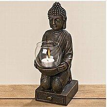 BUDDHA Figur knieend mit Windlicht in den Händen