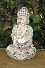 Buddha- Figur Skulptur Gartenfigur Dekofigur mit Windlicht Vintage