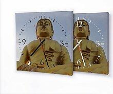 Buddha Gold - Lautlose Wanduhr mit Fotodruck auf Leinwand Keilrahmen | geräuschlos kein Ticken Fotouhr Bilderuhr Motivuhr Küchenuhr modern hochwertig Quarz | Variante:30 cm x 30 cm mit weißen Zeigern - GERÄUSCHLOS