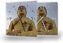 Buddha Gold - Moderne Wanduhr mit Fotodruck auf Polycarbonat | Fotouhr Bilderuhr Motivuhr Küchenuhr modern hochwertig Quarz | Variante:30 cm x 30 cm mit schwarzen Zeigern
