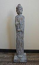 Buddha Großer Stehend Holz-Optik H81cm Magnesia