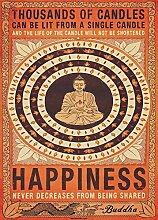 Buddha Happiness Candles Foto-Tapete 2-teilig - Fototapete Wallpaper 232x158cm. Beigelegt sind eine Packung Kleber und eine Klebeanleitung.