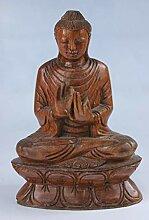 Buddha Holz-Figur mit Mudra (21 cm) Sitzende Asia