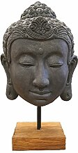 Buddha-Kopf auf Holzsockel Skulptur, Schwarz,