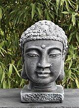 Buddha Kopf groß - Schiefergrau, Garten, Deko,