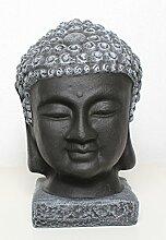 Buddha Kopf Statue Stein - Schwarz/Schiefergrau,