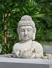 Buddha m. Teelicht Outdoor beige gewischt