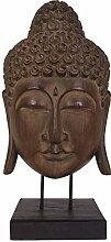 Buddha Maske 65cm auf Holzsockel Statue Dekofigur