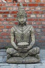 Buddha mit Schale, Gartenfigur, Steinfigur Farbe