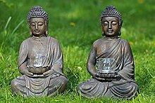 Buddha mit Windlicht aus Magnesia in braun Höhe 41 cm (rechts (flache Schale))