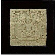 Buddha Relief Stein Bild mit dunkelbraunem