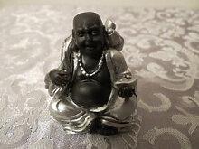 Buddha schwarz - silber, mit Gold Glücksbringer