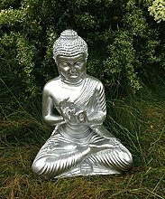 Buddha sitzend Figur Dekofigur silber Dekofigur