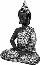 Buddha sitzend H34cm Buddhafigur Gartenfigur Gartenskulptur aus witterungsbeständigen Polystone Gartendekoration - Schwarz/Silber
