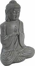 Buddha sitzend H52cm Zement Grau Gartenfigur Gartenskulptur Buddhismus Buddhafigur Gartendekoration