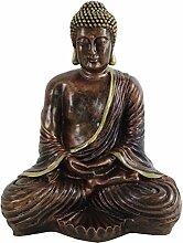 Buddha Skulptur bronze sitzend 41cm Figur Polyresin Dekoration Feng Shui