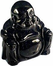 Buddha-Statue aus Goldfluss, sitzend, Blau