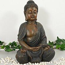 Buddha Statue braun Dekoration Wohnzimmer 28cm