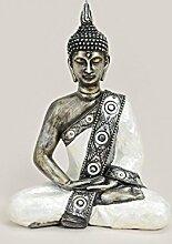 Buddha Statue Deko Figur 20x10x27cm   Meditierend in weiß/silber aus Kunststein, Gartendeko