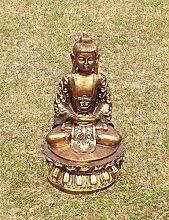 Buddha Tempelwächter gold auf Lotus Figur Dekofigur