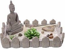 Buddha Zen Garten mit Teelichthalter Rechteckig