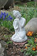 Buddhafigur,knieend,grau,34cm