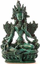 BUDDHAFIGUREN/Billy Held Grüne Tara 15 cm türkis Resin Buddhastatue Buddha Dekoration tibetische Bodhisattva Handarbeit aus Nepal