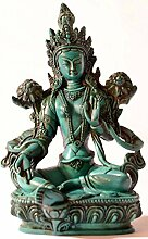 Buddhafiguren - Grüne Tara 20 cm türkis Resin Buddhastatue Buddha Dekoration tibetische Bodhisattva Handarbeit aus Nepal