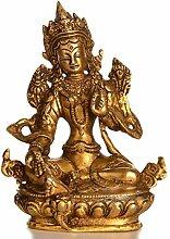 Buddhafiguren - Grüne Tara patiniert 14 cm Messing Buddhastatue Buddha Dekoration tibetische Bodhisattva Handarbeit aus Indien