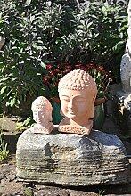 Buddhaköpfe,2er Set,Terracotta,frostfest,23+13cm