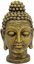 Buddhakopf SUMANA, antik-gold, 75cm, wetterfes
