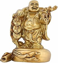 Buddhismus-Home Dekoration Indische Kunst Happy Buddha-Statue aus Messing 15 cm