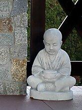 Buddhistischer Mönch Steinfigur Buddha Skulptur Gartendeko Steinguss frostfes