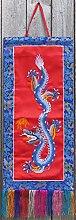 Buddhistischer Wandbehang Drache 67 cm x 28 cm blau - rot aus Brokat Buddha Dekoration