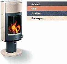Buderus blueline Nr. 12 Design Kaminofen 8 kW Heizung Ofen, Farbe:Anthrazi