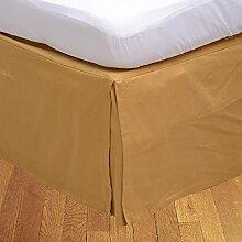 BudgetLinen 1PCs Box Plissee Bed Rock(Gold , Euro