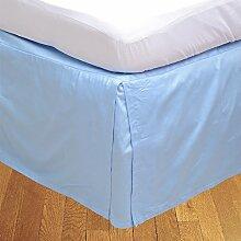 BudgetLinen 1PCs Box Plissee Bed Rock(Hellblau ,